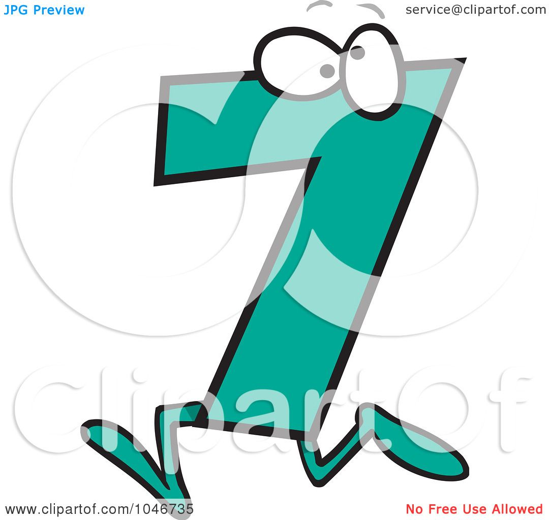 1080x1024 Royalty Free (Rf) Clip Art Illustration Of A Cartoon Number Seven
