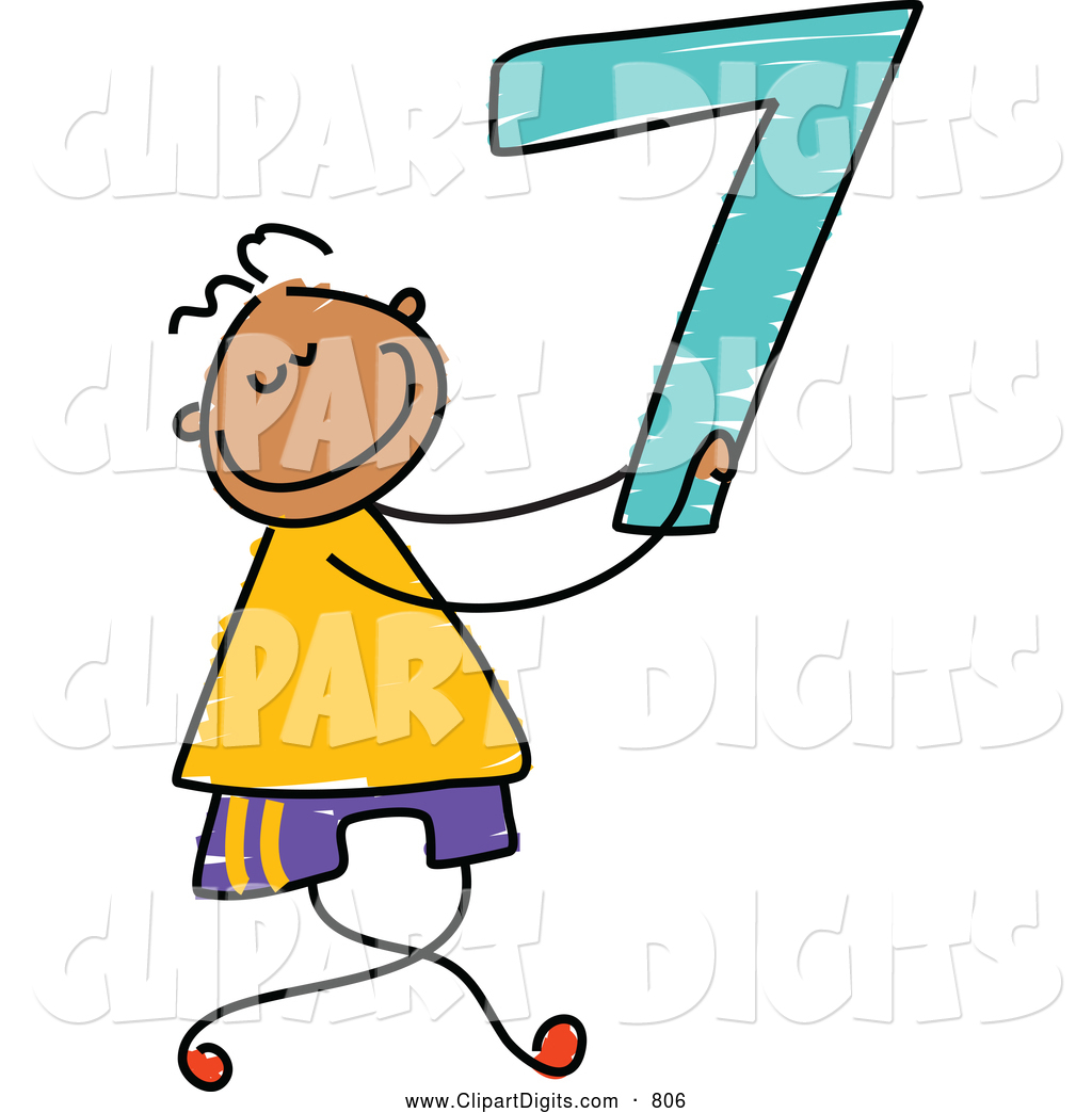 1024x1044 Vector Clip Art Of A Stick Figure Boy Holding The Number 7 Seven