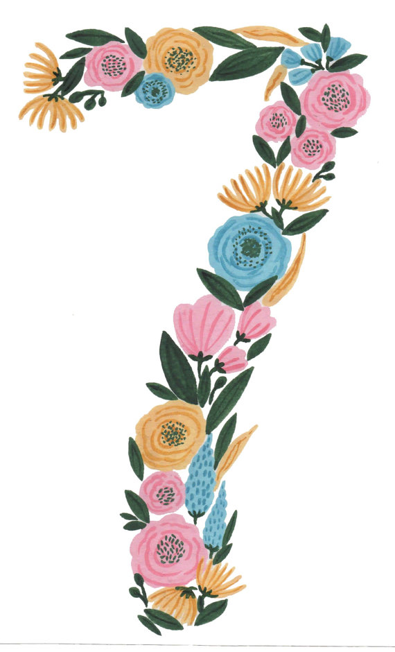 570x940 Floral Number Print Watercolor Clipart Number Seven