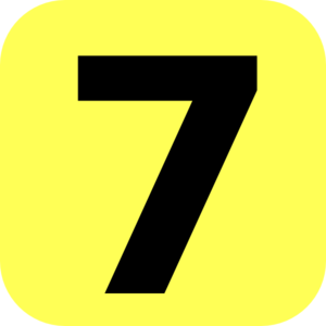 300x300 Yellow Rounded Number 7 Clip Art