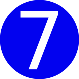 300x300 Blue, Rounded,with Number 7 Clip Art