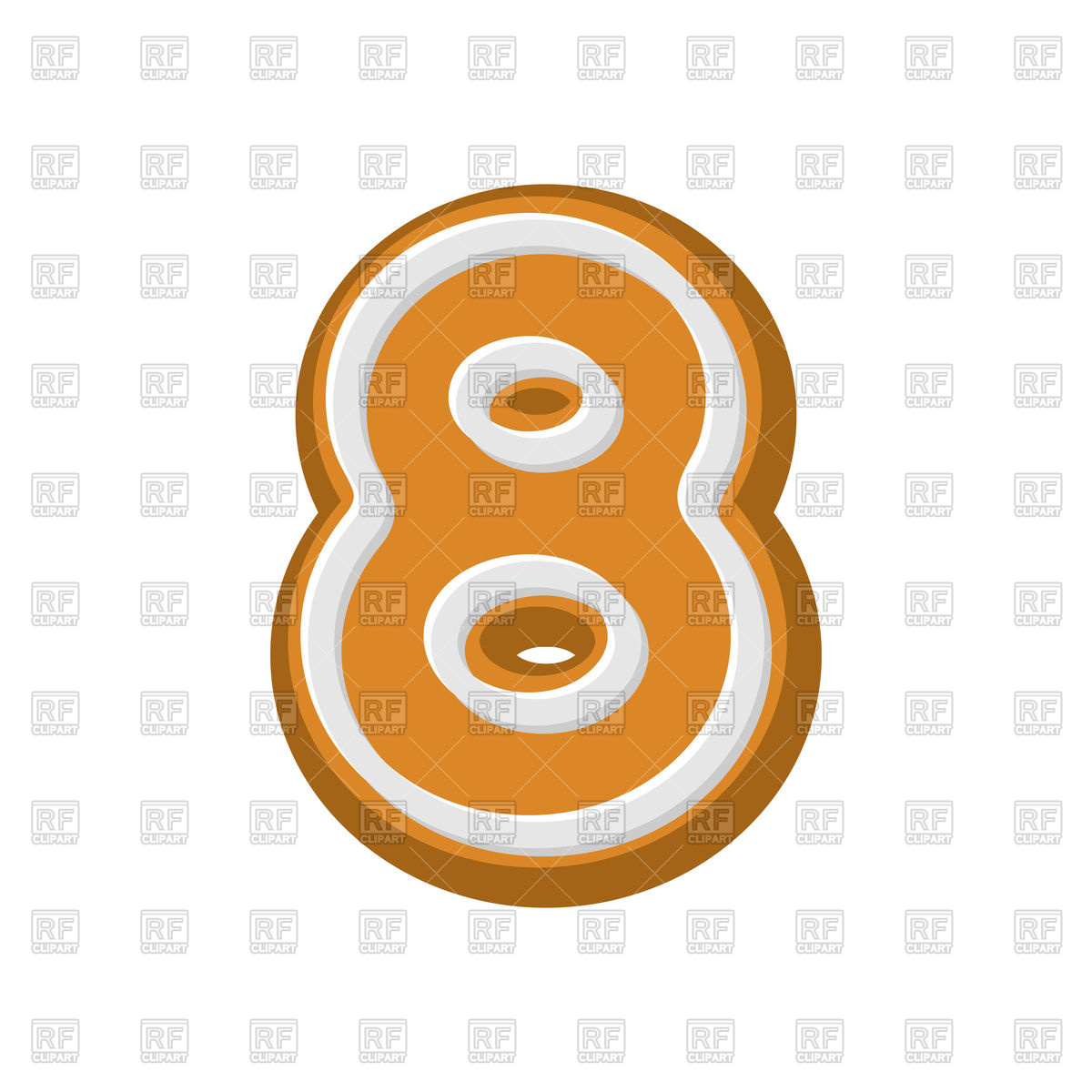 1200x1200 Number 8 gingerbread font Royalty Free Vector Clip Art Image