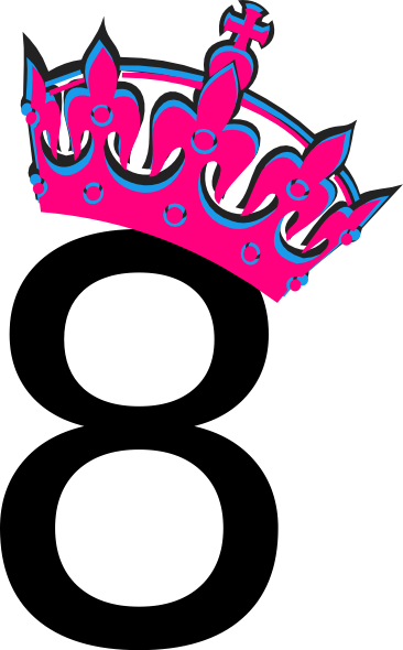 366x590 Pink Tilted Tiara And Number 8 Clip Art