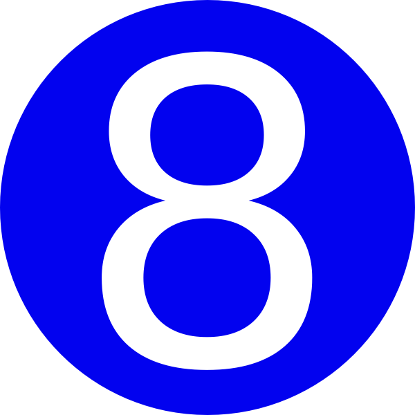 600x600 Blue, Rounded,with Number 8 Clip Art