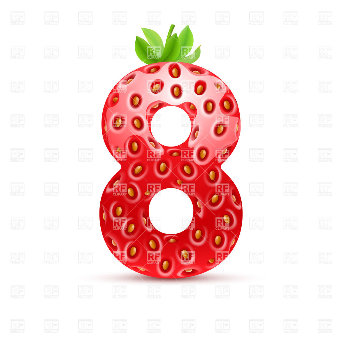 1200x1200 Strawberry style font, number 8 Royalty Free Vector Clip Art Image