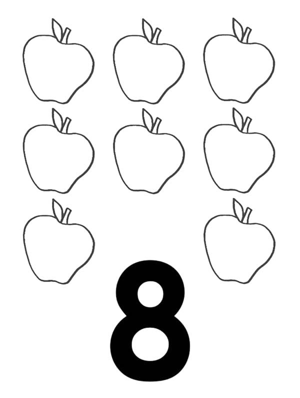 600x795 Learn Number 8 with Eight Apples Coloring Page Bulk Color