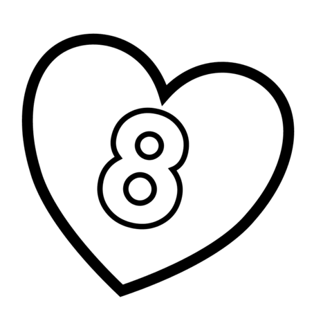 480x480 Number 8 in Heart coloring page Free Printable Coloring Pages