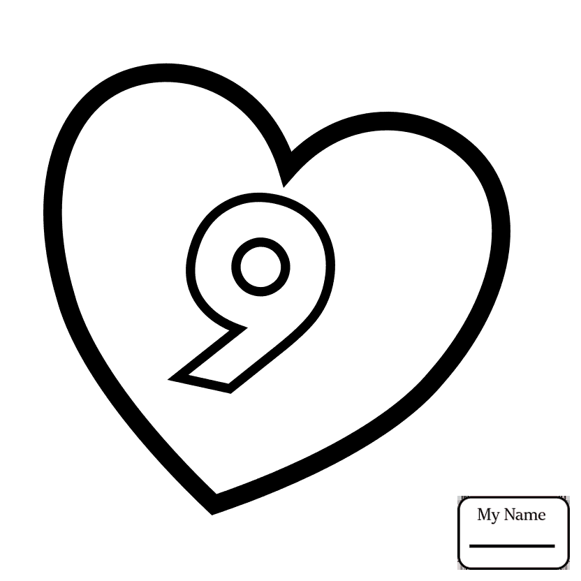 832x832 coloring pages Number 8 in Heart science education valentines day