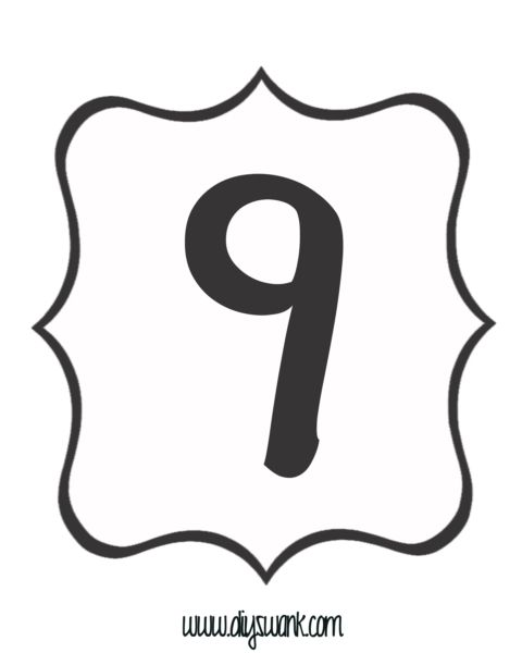 Number 9 Clipart Black And White
