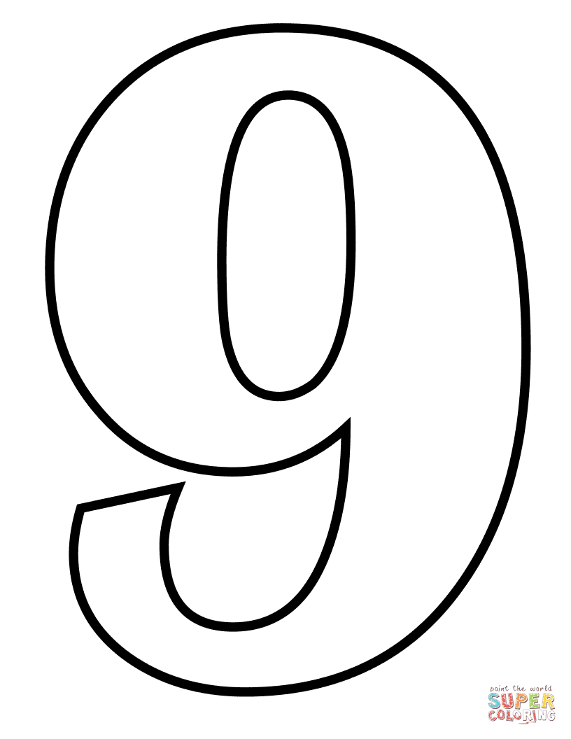 816x1056 Number 9 Coloring Page Free Printable Coloring Pages