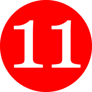 300x300 Red, Rounded,with Number 11 Clip Art