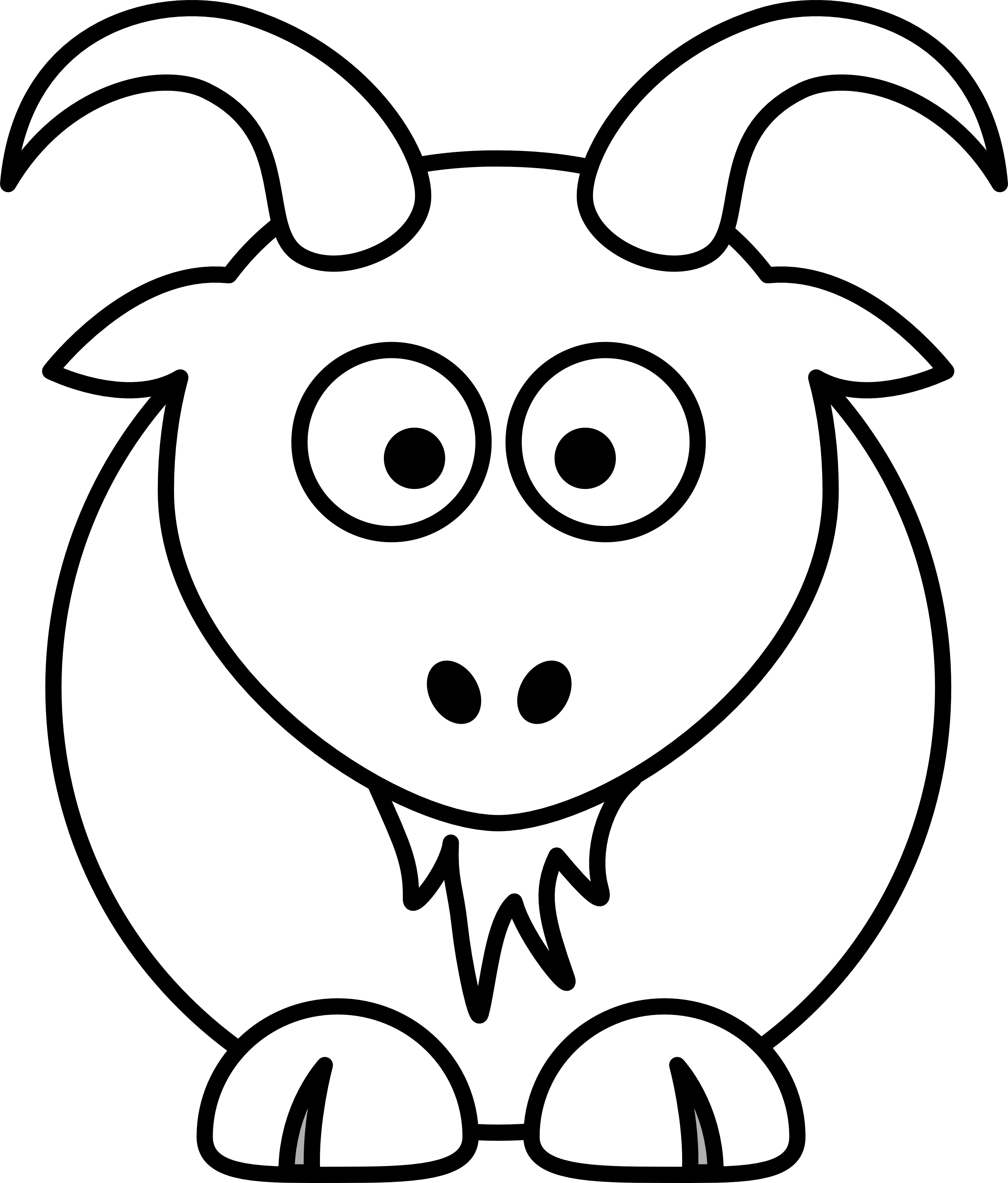 2555x2998 Billy Goat Clipart Black And White