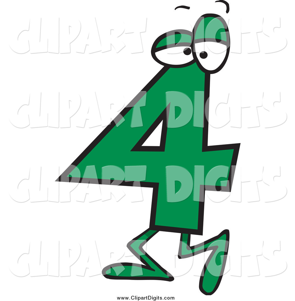 1024x1044 Vector Cartoon Clip Art Of A Green Number Four 4 Character By