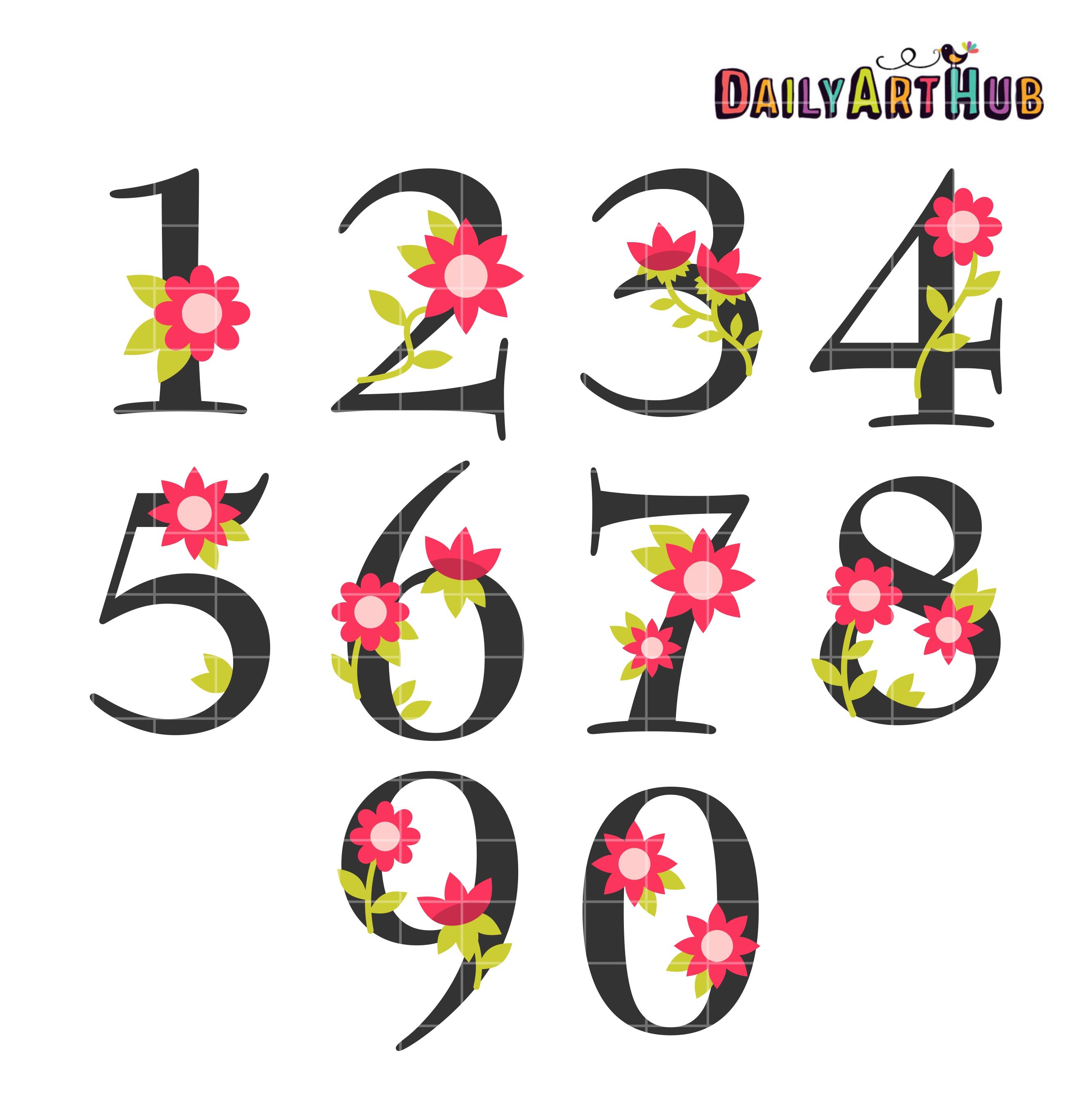 2664x2670 Flower Numbers Clip Art Set Daily Art Hub