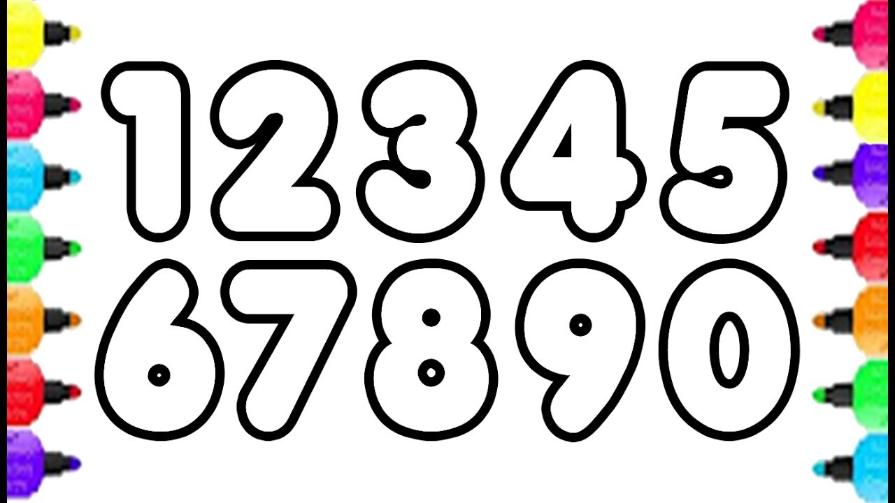 1280x720 123 Numbers Coloring Pages How To Draw Numbers 0 To 9 And Coloring