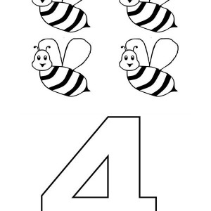 300x300 Learn Number 4 With Four Bees Coloring Page Bulk Color
