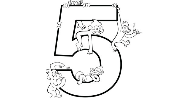 580x326 Number 5 Coloring Sheet Number 5 Coloring Page Free Printable