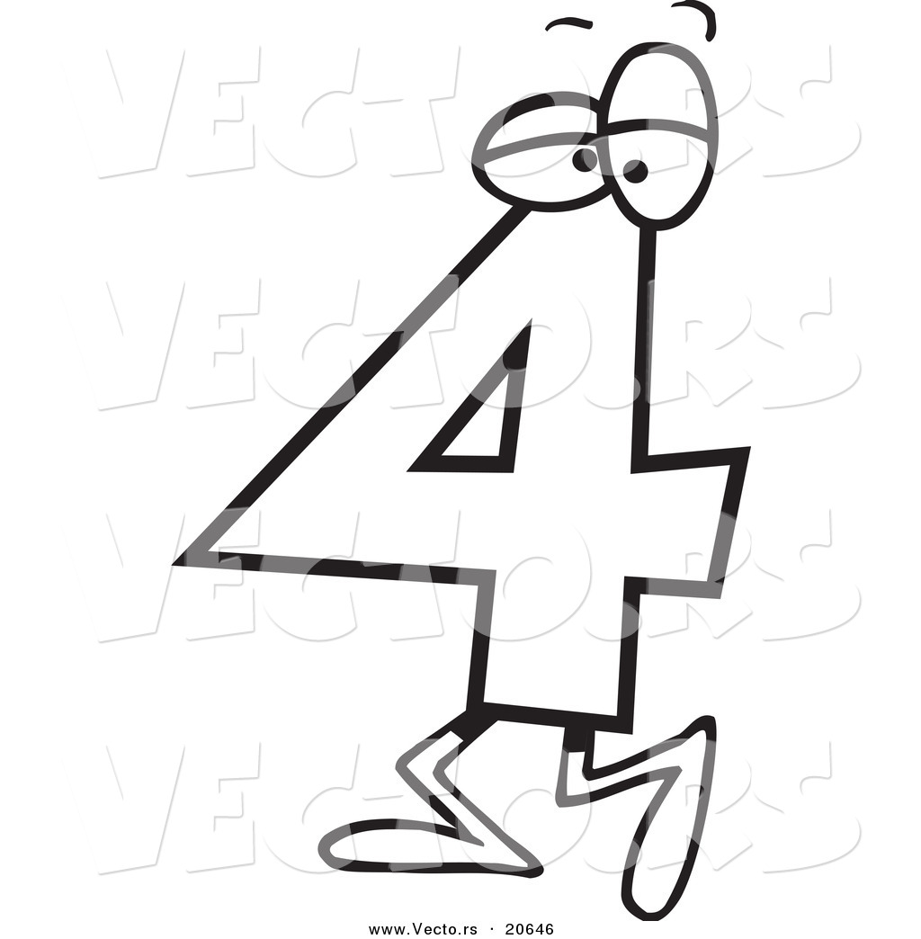 1024x1044 Vector Of A Cartoon Number Four 4 Character