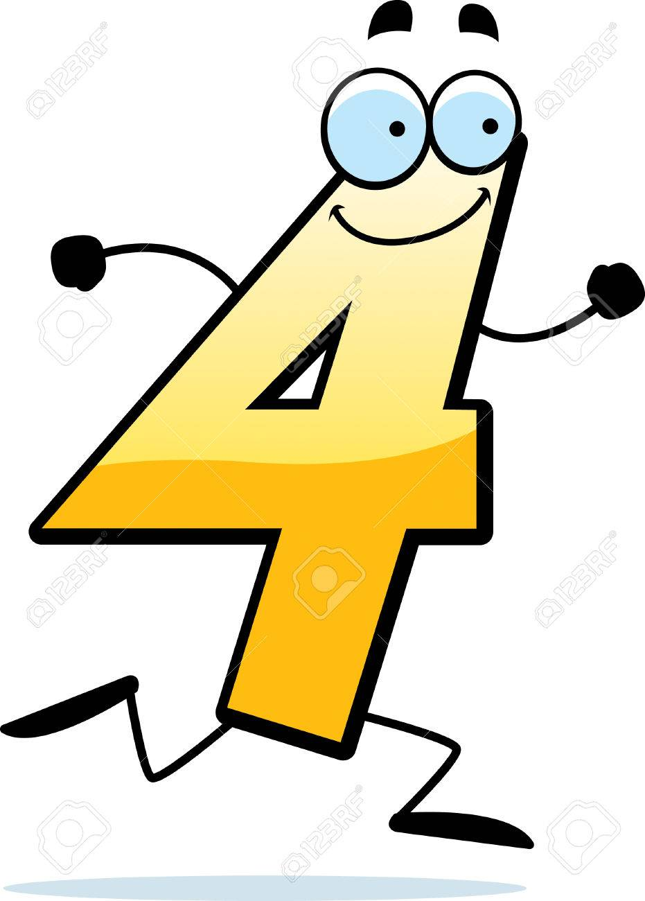 931x1300 A Cartoon Illustration Of A Number Four Running And Smiling