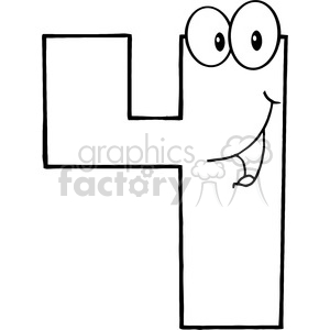 300x300 Royalty Free 4989 Clipart Illustration Of Number Four Cartoon