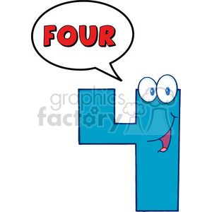 300x300 Royalty Free 4993 Clipart Illustration Of Number Four Cartoon