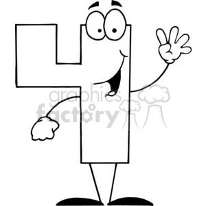 300x300 Royalty Free Cartoon Number Four 4 Smiling 378561 Vector Clip Art