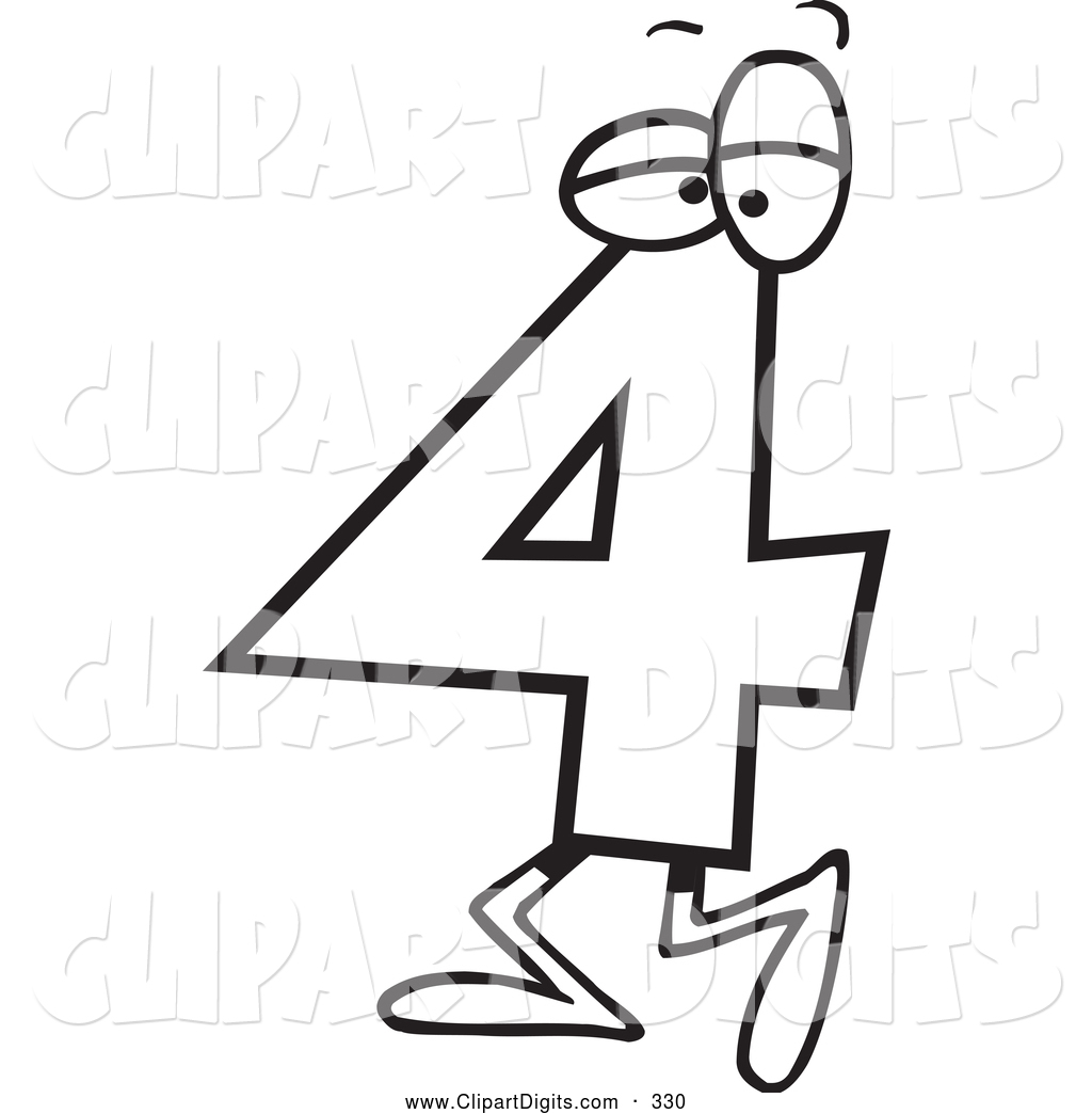 1024x1044 Vector Cartoon Clip Art Of A Black And White Walking Number Four 4