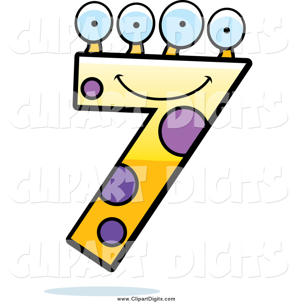 1024x1044 Vector Cartoon Clip Art Of A Four Eyed Number Seven Character