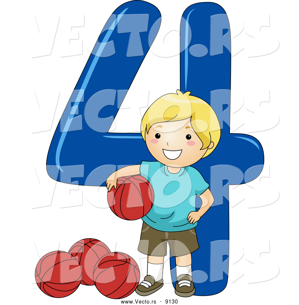 1024x1044 Vector Of A Smiling Cartoon School Boy Standing With 4 Basketballs