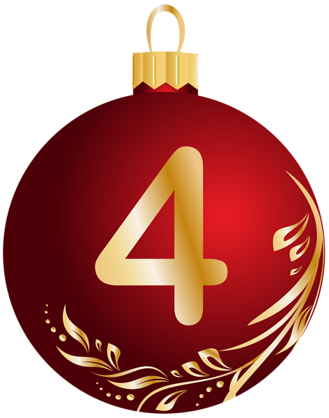 472x600 Christmas Ball Number Four Transparent Png Clip Art Image