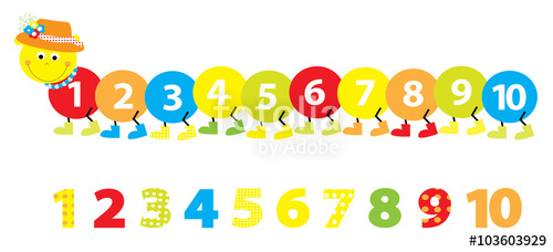 500x228 Smiling cartoon caterpillar with numbers 1 10 vectors Stock