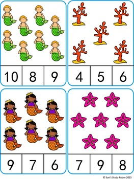 263x350 Count And Clip Cards Mermaid (Numbers 1 20) Count, Mermaid And Math