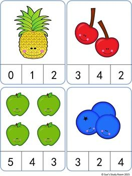 263x350 Fruit Count And Clip Cards Numbers 1 20 Count, Cards And Math
