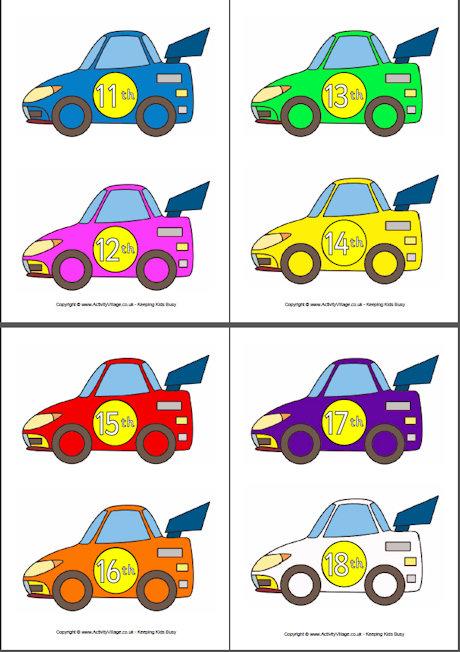 460x652 Racing Car Ordinal Numbers 1 10