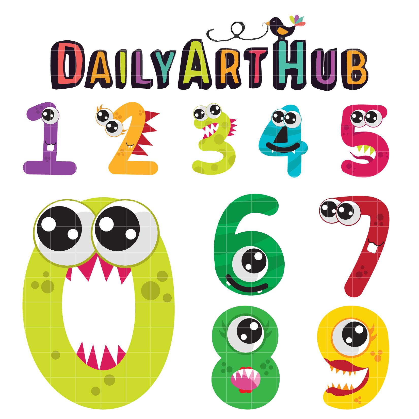 1650x1650 Cute Monster Numbers Clip Art Set Daily Art Hub