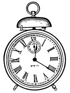 225x300 Free Vintage Alarm Clock Clip Art Illustration Fonts
