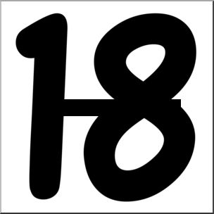 304x304 Number 18 Clipart