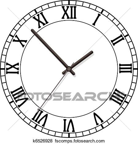 450x470 Clip Art Of Clock Dial With Roman Numbers K6526928