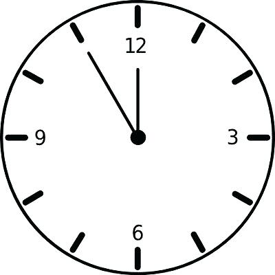 400x400 Wall Clock Clipart Black And White