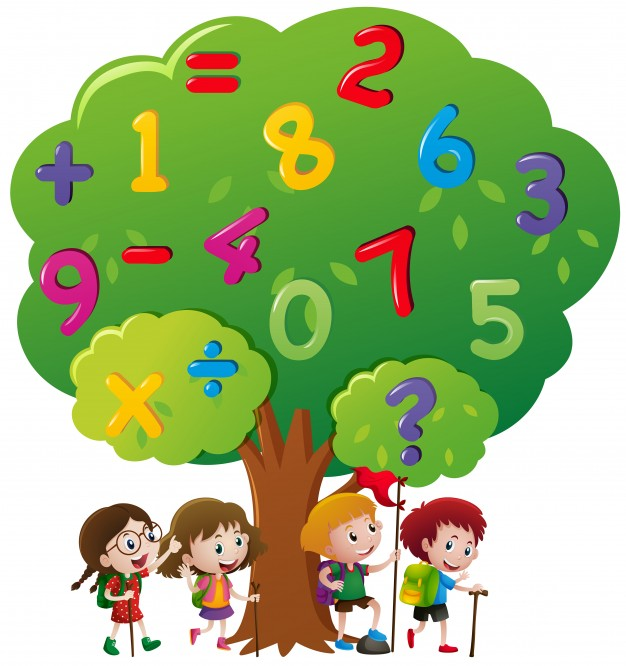626x666 Kids And Numbers On The Tree Vector Free Download