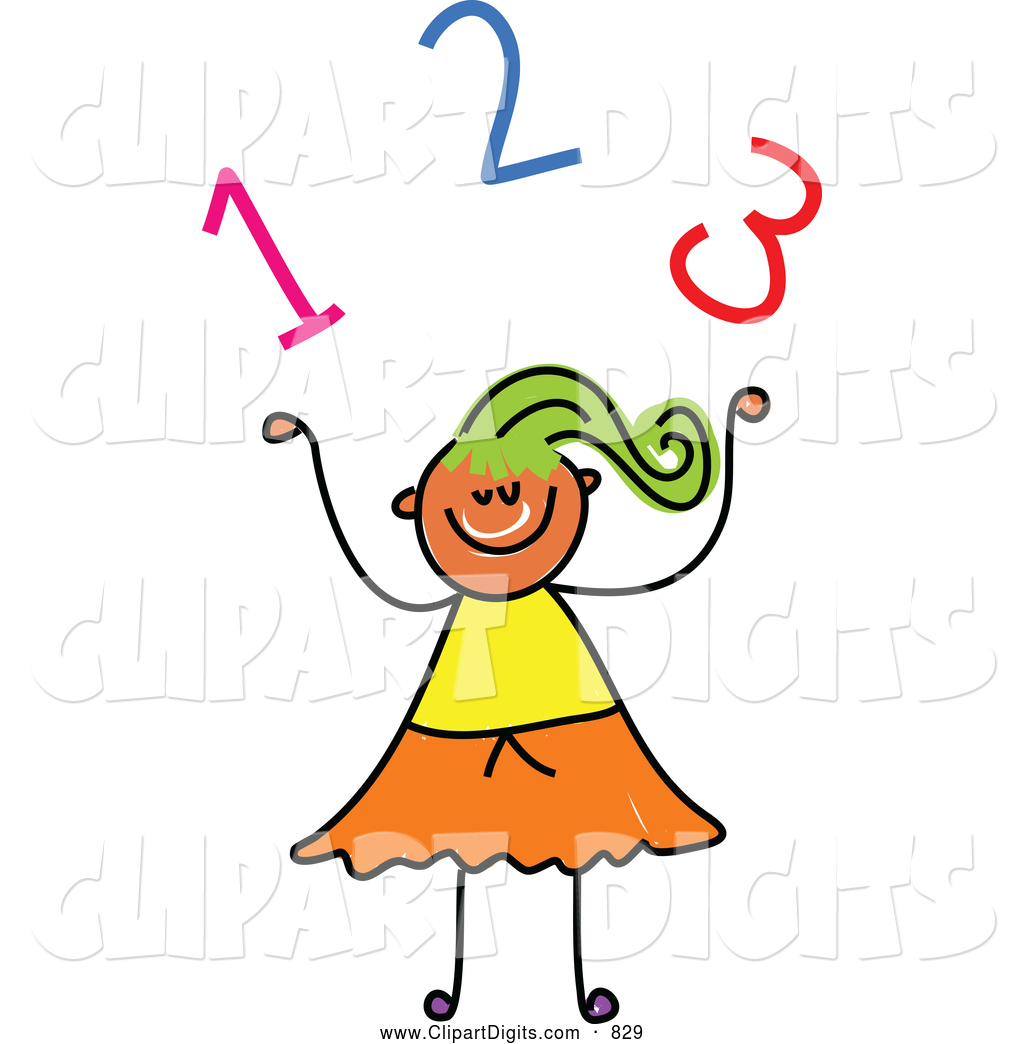 1024x1044 Vector Clip Art Of A Stick Figure Girl Under Numbers By Prawny