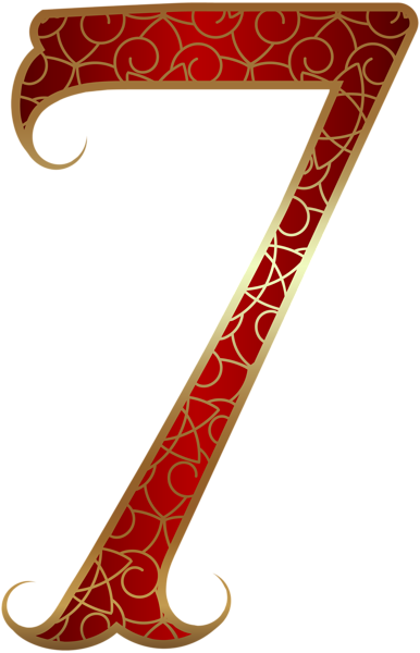 386x600 Gold Red Number Seven Png Clip Art Image Clipart Decorative