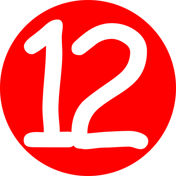 600x600 Red, Rounded,with Number 12 Clip Art