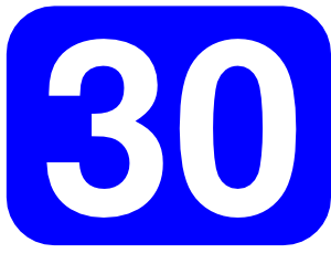 300x239 Blue Rounded Rectangle With Number 30 Clip Art