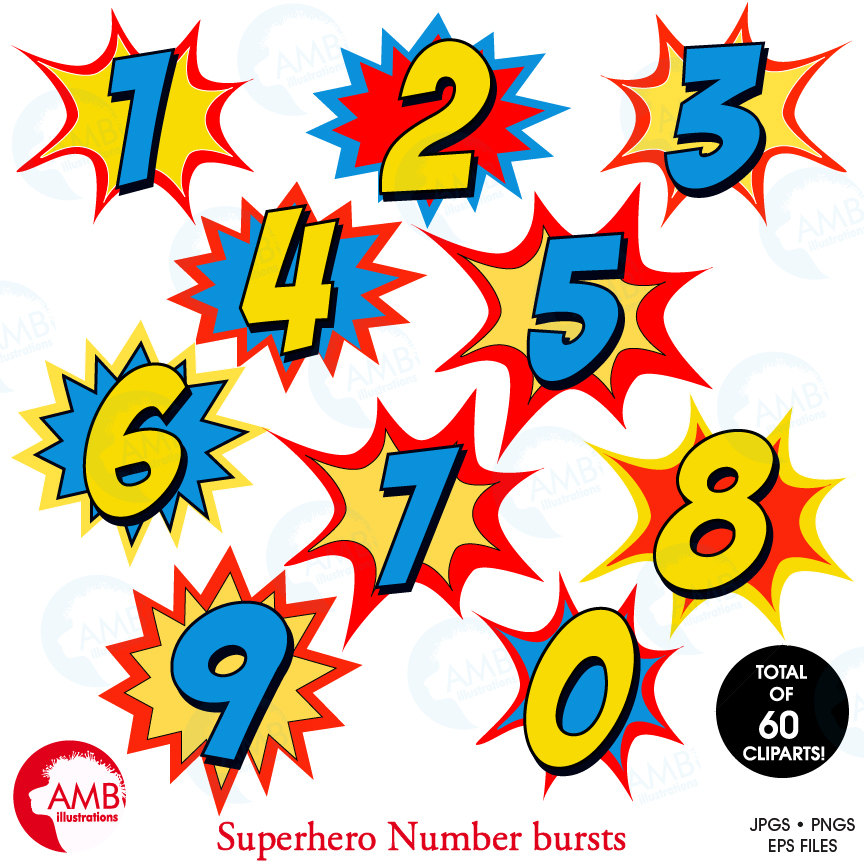 864x864 Superhero Numbers Clipart Numbers Clipart Numbers Clipart