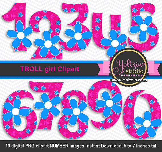 570x534 Trolls Clipart Poppy Numbers Hot Pink Blue Flower Girl Age Digital