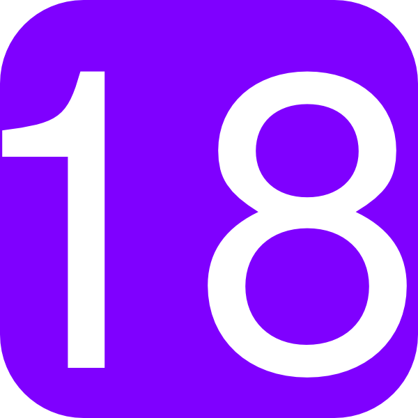 600x600 Purple, Rounded, Square With Number 18 Clip Art