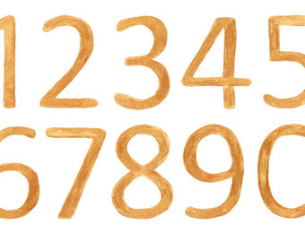 340x270 Wood Texture Digital Numbers, Large Wooden Numbers Clipart, Two