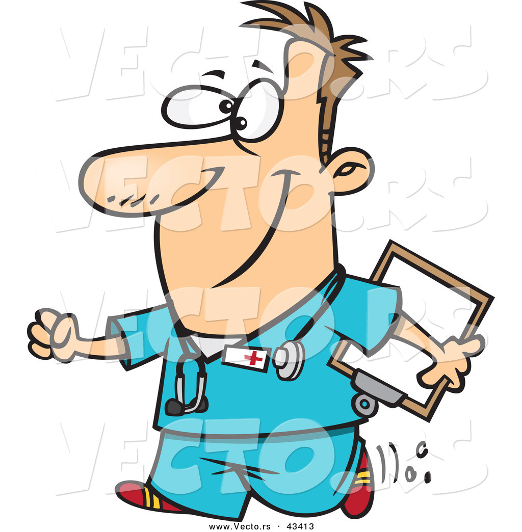 1024x1044 Vector Of A Happy Cartoon Male Nurse Walking With A Clipboard