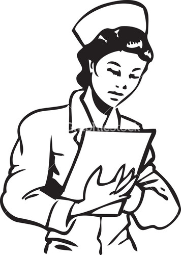 356x500 Nurse With Clipboard Clipart